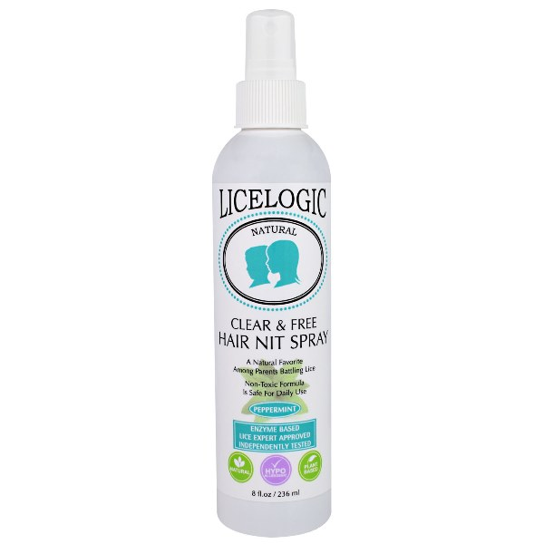 LiceLogic Clear & Free Hair Nit Spray – Peppermint, 8 fl oz / 236 ml