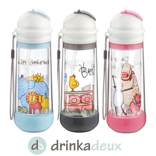 Drinkeux Glass Double Wall Insulated Bottle With Straw (replacement straws  x 2, straw cleaner)