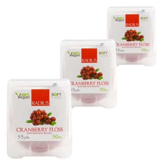 Radius Cranberry Vegan Floss with Natural Xylitol (50m) Pack of 6
